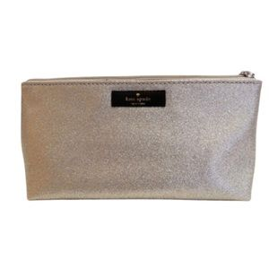 Kate Spade Silver Glitter Makeup Bag Pouch Purse